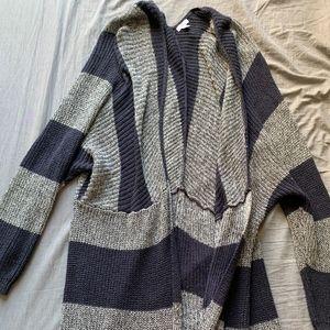 BP Striped Long Cardigan